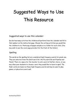 Grade 1 January Homework Calendar