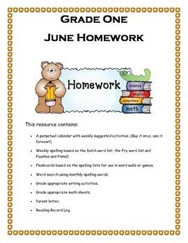 Grade 1 June Homework Calendar