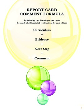 Grade 1 Language Comment Builder