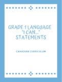 "Grade 1 Language ""I Can..."" Statements"