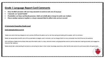 Grade 1 Language Ontario Report Card Comments - All TERMS