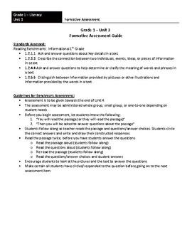 Grade 1 - Literacy Formative Assessment
