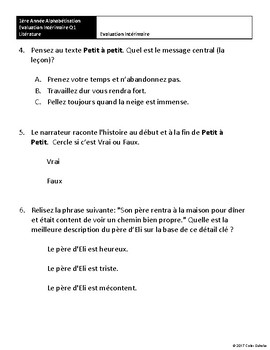 Grade 1, Literature Assessments [FRENCH]