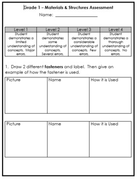 Grade 1 - Materials, Objects, and Everyday Structures Quiz