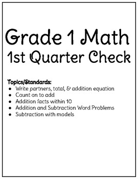 Grade 1 Math 1st Quarter Check