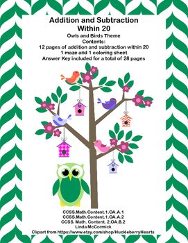 No Prep Grade 1-Math Addition & Subtraction Within 20 Worksheets-Birds and Owls