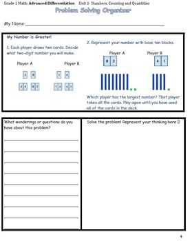 Grade 1 Math: Advanced Differentiation. Unit 1- Numbers, Counting and Quantities
