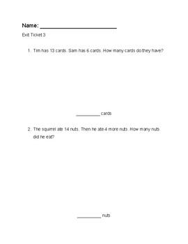 Grade 1 Math Exit Ticket Bundle
