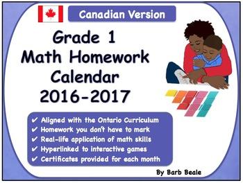 Grade 1 Math Homework Calendar 2016-2017 - Canadian Curriculum