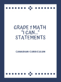 "Grade 1 Math ""I Can..."" Statements (All STRANDS)"