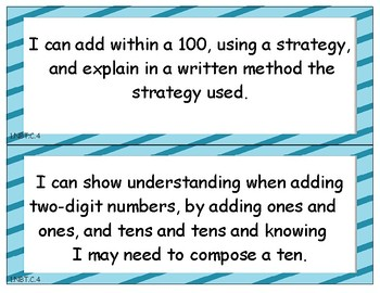 Grade 1 Math - I Can Statements for the Common Core