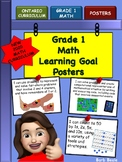Grade 1 Math Learning Goal Posters - NEW 2020 Ontario Math