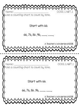 Grade 1 Math NBT Exit Slips