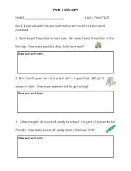 Grade 1 Math Short Assessments by Standard