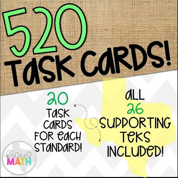 Grade 1 Math TEKS Aligned Task Cards: All SUPPORTING TEKS Bundle!