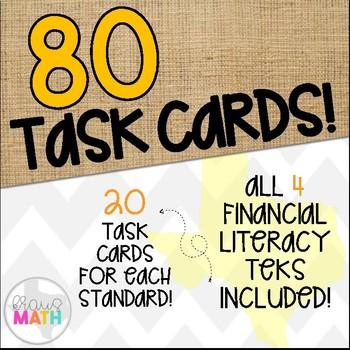 Grade 1 Math TEKS Aligned Task Cards: All FINANCIAL LITERACY TEKS Bundle!