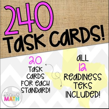 Grade 1 Math TEKS Aligned Task Cards: All READINESS TEKS Bundle!