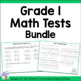 Grade 1 Math Tests Bundle (Ontario Curriculum)