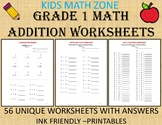 Grade 1 Math Workbook (56 Worksheets) Addition, Math