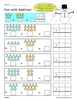 grade 1 addition sample worksheet making math visual by luminous learning. Black Bedroom Furniture Sets. Home Design Ideas