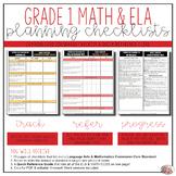 Grade 1 Math and ELA Common Core Checklists Bundle