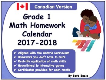 Grade 1 Mathematics Homework Calendar 2017-2018 - Canadian Curriculum