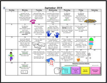Grade 1 Mathematics Homework Calendar 2019-2020 Canadian Content