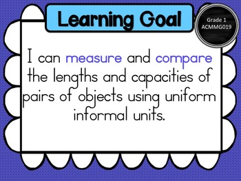 Grade 1 Maths - Measurement & Geometry Learning Goals & Success Criteria Posters