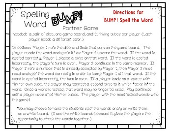 Grade 1 McGraw-Hill Reading Wonders Supplement Spelling Word BUMP! Partner Game