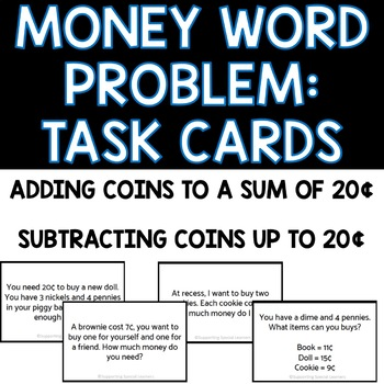 Grade 1 Money Word Problems - Task Cards