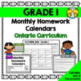 Grade 1 Homework Calendars 2018-2019 (Editable)