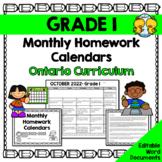 Grade 1 Homework Calendars 2019-2020 (Editable)