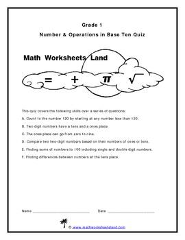 Grade 1 Number & Operations in Base Ten Quiz - Core Aligned