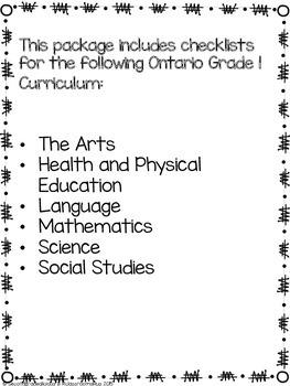 Grade 1 Ontario Curriculum Checklist