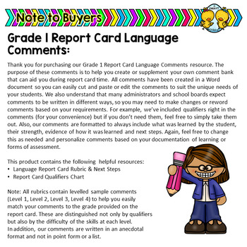 Grade 1 Ontario Language Report Card Comments