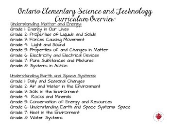Grade 1 Ontario Science Curriculum Chart