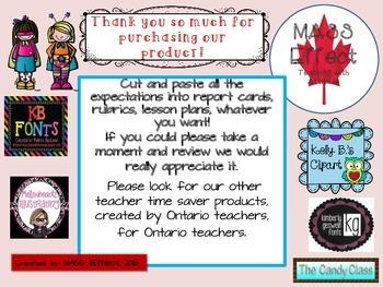 Grade 1 Ontario Social Studies Curriculum Chart