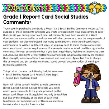Grade 1 Ontario Social Studies Report Card Comments