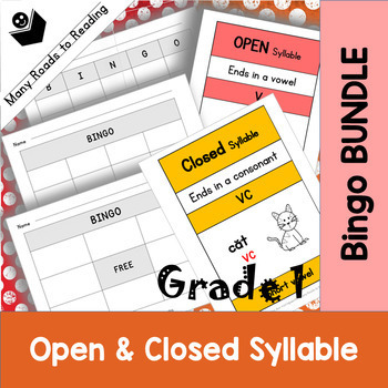 Grade 1 Open & Closed Bingo Game BUNDLE