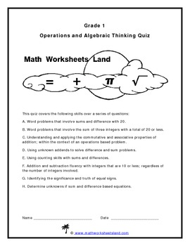 Grade 1 Operations and Algebraic Thinking Quiz