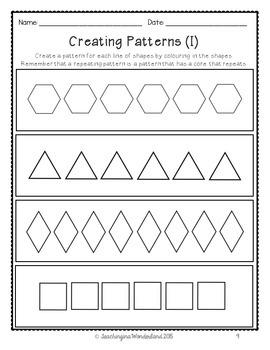 {Grade 1} Patterning Activity Packet