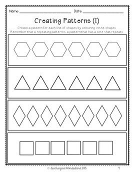 {Grade 1} Patterning Activity Packet