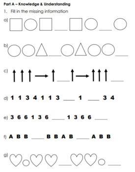 Grade 1 Patterning Assessment 2017