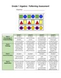 Grade 1 Algebra:  Patterning Assessment - 2020 Ontario Math