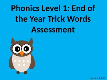 Grade 1 Phonics End of the Year Trick Words Assessment
