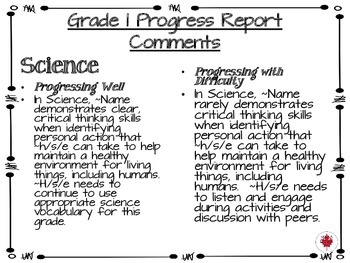 Grade 1 Progress Report Comments for Math, Language and Science