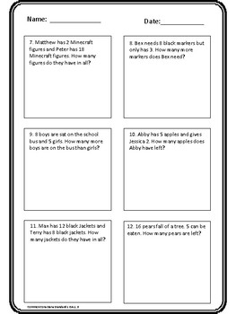 Grade 1 - Quick assessment on word problems