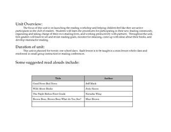 Grade 1 Reader's Workshop Unit 1: Readers Build Good Habits