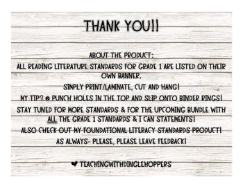 Grade 1 Reading Literature Standards