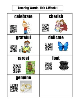 Grade 1 Reading Street Unit 4 Amazing Words, Definitions, and QR Codes